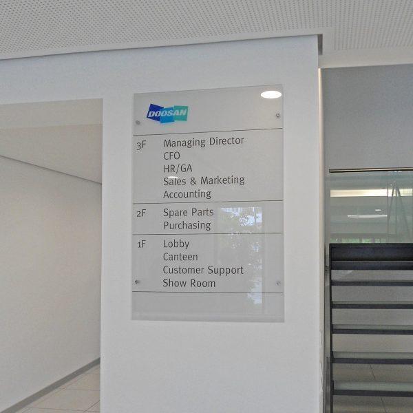 Besucher-Leitsystem Doosan Dormagen Acrylglas mit Edelstahl-Abstandshaltern